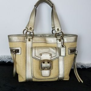 Coach Handbag Gold Leather And Natural Beige Straw